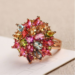 Wholesale 925 Silver Rose Flower Ring - Genuine Natural Tourmaline Ring 925 silver rose gold ring women recognize rich flower ring