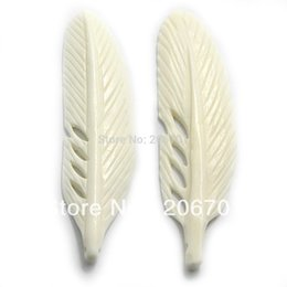 Wholesale Bone Carved Ships - 75mm Carved Bone White Feather Beads Pendant 3PCS Free Shipping