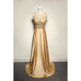 vestidos de cetim cor champanhe Desconto 2018 New Lace Satin Bainha Vestido de Noite Com Bordado Até O Chão O Pescoço Vestido de Noite Champagne Cor