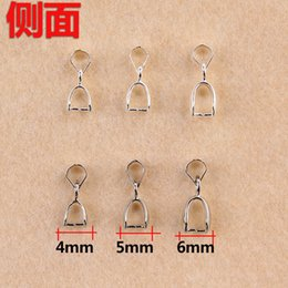Wholesale Pinch Bail Plates - (100 pcs lot) 13*4mm 14*5mm 15*6mm silver  white K plated bail connector bale pinch clasp pendant DIY jewelry findings fc064