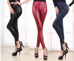 Wholesale High Waist Leather Hot Pants - 2015 New Hot Autumn Winter Oversized Sexy Women Faux Leather PU Stretch High Waist Leggings Pants Tights 5 Colors