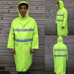 Wholesale Reflective Raincoats - Safety Clothing Hooded Reflective Raincoat Security Visibility Reflective Vest Reflective Clothing Construction Traffic Vest CCA8293 10pcs