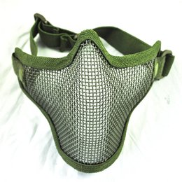 Wholesale Face Guarding - Wholesale-NFLC New Olive Green Airsoft War Game Half Face Guard Mesh Mask Protector Protective