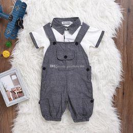 Wholesale Gentlemen Clothing Styles - INS Children boys gentleman outfits cotton top+Suspenders 2pcs set baby casual Clothing Sets C3259
