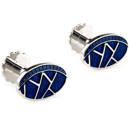 Wholesale Oval Cufflinks - Paint Series Men's bizarre blue oval French cufflinks Cufflinks 157806 MTS