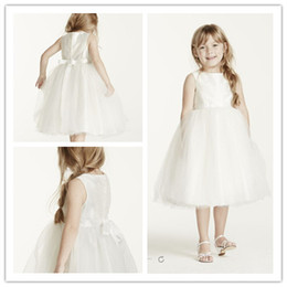 Wholesale Simple Flower Girl Dresses - Simple Pure White Tulle and Satin Ball Gpwn Flower Girls' Dresses Tank Jewel With Bow Tea length on wedding Party Dress