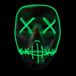 Wholesale neon halloween costumes - Light Up Neon Skull LED Mask For Halloween Party And Concert Scary Party Theme Cosplay Payday Series Masks