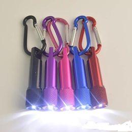 Wholesale Light Keyring Sale - Sale 100pcs Best christmas lights gifts LED Mini Flashlight Aluminum Alloy Torch with Carabiner Ring Keyrings Keychain mini LED Flashlight