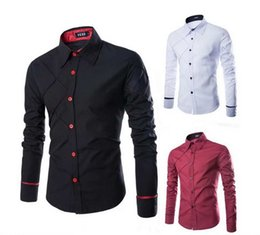 Wholesale Unique Shirts Men - casual men shirts with long sleeves slim fit mens shirts high fashion The unique design wiring traces Grid free shipping
