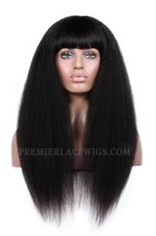 Wholesale Silk Tops For Ladies - Premierlacewigs Brazilian Celebrity Italian Corse Kinky Straight Nautral Black Hair silk base top Lace Wigs with Bang For Women