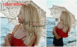 Wholesale Sun Umbrella Parasol Sale - Hot sale! Lace Parasol Sun Umbrella Ribbon Parasol Umbrella Wedding Bridal Umbrella Fans Parasols Wedding Decoration white beige red 9 color