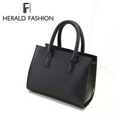 Wholesale Top Men Briefs - Wholesale-PU Leather Brief Women Handbags Casual Top-Handle Bag Solid Shoulder Bag Saffiano Women Messenger Bags Fashion Tote