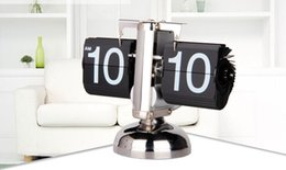 Wholesale Metal Scale Stand - New Retro Modern Metal Scale Digital Auto Flip Single Stand Metal Desk Table Clock free shipping