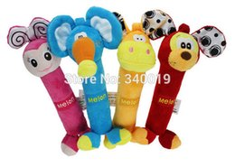 Wholesale Toy Squeakers - Wholesale-Melon Plush Rattles 4 pcs set 10*20 cm Boxed Baby Toy Box Squeakers Bar Shape Rattles Educational Toy