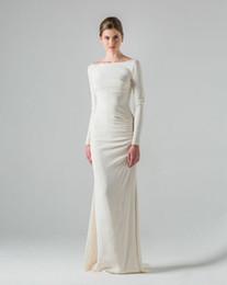 Einfache elegante mantel brautkleider online-Einfache Mantel-Hochzeitsfest-Kleider Bateau-Ausschnitt-elegante lange Hülsen-Fußboden-Längen-Strand-Garten-Hochzeits-Kleider