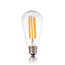 Wholesale Long Led Lights - LED Long Filament Light Bulb Edison ST64 Classic Style Ultra Warm White 2200K 4W 6W 8W Vintage Decorative Dimmable Lamps