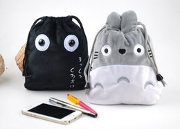 Wholesale Wholesale Purse Dust Bags - CUTE TOTORO + Black Dust 20*16CM String Coin Purse Wallet Pouch Lady Girl's Wallet Wrist Pendant Storage BAG Wallet Handbag