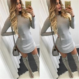 Wholesale Cute Women Club Dresses - S-XL women hooded front pockets dress 2015 autumn style grey bodycon dress night club wear full sleeve cute womens dresses XD241 FG1511