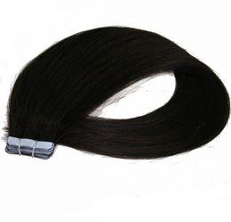 5a capelli brasiliani online-Grado 5A 16 '' - 26 '' 100% Brasiliano Human PU Emy Tape Estensioni dei capelli della pelle 2.5 g / pz 40 pz100 g / pacco 1 jet nero DHL Shpping GRATUITO