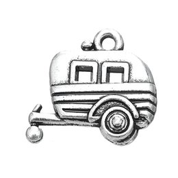 Wholesale Car Charms For Necklaces - Antique Silver Plated Camper Car Trailer DIY Charm Jewelry For Necklace Or Bracelet (185970)100pcs lot