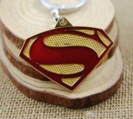 Wholesale Key Ring S Logo - 200pc Superman S Logo Keychains Marvel DC Superhero Zinc Alloy Gold Silver Key Chain Ring Accessory For Fans free ship 1593