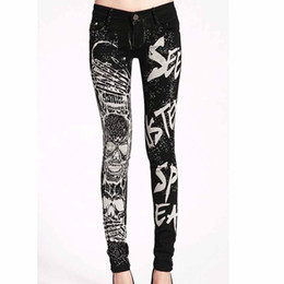 Wholesale Rhinestone Pocket Jeans - Wholesale New Arrival jeans women Casual Black Pencil jeans pants Girl high quality head printing skull Pattern Skinny Long jeans for women