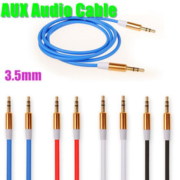 Wholesale Car Stereo Connectors - AUX Audio Cables Stereo Car Extension Auxiliary Adapter Male To Male 1m Speakers Connector For Samsung Galaxy S5 High Quality CAB081
