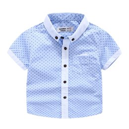 Wholesale Wholesale Button Down Shirts - Handsome Baby clothing for wedding Gentle Boys dots summer short sleeve shirt boy Button collar Tops 100%cotton shirts boy