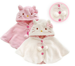 Wholesale Toddler Hooded Poncho - Fashion hello kitty baby girl clothes ,soft fleece cloak toddler girl clothing cape for outerwear coat ,baby clothes free shipping