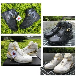Wholesale Mens C - 2017 Air Retro 8 C&C CHAMPIONS Confetti Men Basketball Shoes Cigar Black Gold Trophy White Gold 8S VIII Outdoor Original Mens Sports Sneaker