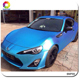 Wholesale cars wrapped matte blue - 2016 Top Quality 1.52*20m Brushed Matte Chrome Pearl Blue Car Wrap Vinyl Protective Wrapping for Car Decoration Stickers