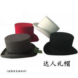 Wholesale Equestrian Cap - Wholesale-100% Wool felt fedoras president hats equestrian cap magic cap male Top Hat caps women's Free Shipping