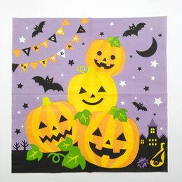 Wholesale Napkin Paper Party - Halloween Pumpkins Paper Napkin Placemats Wood Pulp 2 Layers Safe Party Tissue Serviettes for Sale SD910