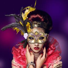 Wholesale Sexy Dance Performance Costumes - Venice Party Princess Feather Mask Half Face Masquerade Sexy Dancing Mask Cosplay Performance Costume Festive Supplies 10pcs lot SD422