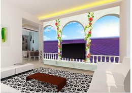 Wholesale Photo Field - Custom photo wallpaper 3D stereoscopic Balcony lavender fields TV background 3d mural wallpaper 20156797