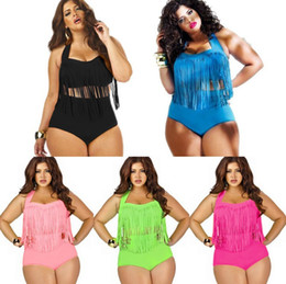 Wholesale Womens Swim Suits Bikini - New Tassel bikini Swimwear Women's Sexy High waisted Push up fringe Bikini Womens Bathing Beach Swim Suit Wear Bikinis Plus Size Swimsuit