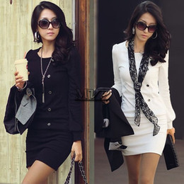 Wholesale Korea Blouse Dress - 2014 New Fashion Korea Women Round Neck Long Sleeve OL Mini Dress Five Button Top Blouse#7 41