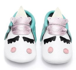 Wholesale Baby Shoes Golden - New Unique style genuine leather newborn baby moccasins christmas gifts baby kids shoes Blush golden angle Unicorn Baby boot