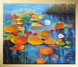 Wholesale Canvas Oil Painting Green Lilies - Free Shipping Art works hand-painted Green water lily pads decorative landscape oil painting on canvas 16*20inch DY-047