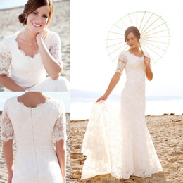 Wholesale Elegant Backless Gold Dress - 2015 Modest Short Sleeves Wedding Dresses with Pearls For Beach Garden Elegant Brides Hot Sale Cheap Lace Mermaid Bridal Gowns Vestidos New