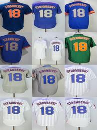 Wholesale Cheap Pinstripe Baseball Jerseys - Factory Outlet Mens Womens Kids New York 18 Darryl Strawberry Blue Green Grey Pinstripe White Best Quality Cheap Stitched Baseball Jerseys
