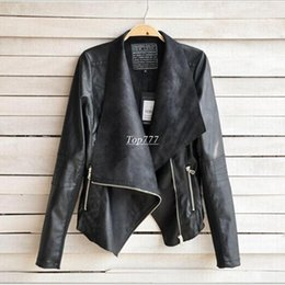 Wholesale White Coat Leather Sleeves - 2016 PU Leather Jacket Women Clothes Faux Turn-Down Collor Female Jackets Womens Slim Coats Plus Size Feminino Mujer Outerwear