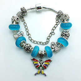 Wholesale Ancient Blue Beads - Hot Selling Europe Style Plating Ancient Silver Butterfly Charm Bracelet Crystal Blue Murano Ceramic Beads DIY Bracelets Jewelry