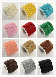 Wholesale Wax Cotton Cord Wholesale - Wholesale-27colors Waxed Thread Cotton Cord 1mm String Strap Fit shamballa Bracelet Necklaces, about 84m roll