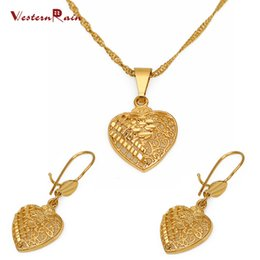 Wholesale Engagement Bracelets - Westernrain 2017 Gold 24K Heart Pendant Necklace wedding jewelry Women's 24K Gold Earring Hollow Design Jewelry Set G656