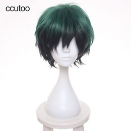 Wholesale Shaggy Wigs - Synthetic Hair Wigs ccutoo 30cm Green Black Mix Short Shaggy Layered Fluffy Synthetic Hair Heat Resistance Fiber Cosplay Full Wigs