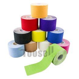 Wholesale Elastic Tape Sport - hot Kinesiology Sports Therapy Tape 5cmx5m Kinesio Tape Water Resistant Elastic Therapeutic Tape Muscle Therapeutic Kinesio Tap free shippin
