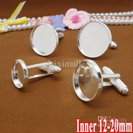 Wholesale Silver Bezel Trays - 50pcs Silver Plated French Cuff link Blank Jewelry with inner 12-20mm Bezel Setting Tray for Cameo Cabochons
