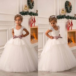 Wholesale Cute Baby Girl Christening Dresses - 2017 Cheap New Cute Off Shoulder Lace Sash Ball Gown Net Baby Girl Birthday Party Christmas Pageant Dresses Children Flower Girl Gown BO8551