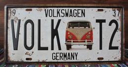 Matrículas vintage on-line-Novo 2015 VOLK T2 VOLKSWAGEN Decoração Da Parede Do Metal Do Vintage Pintura Retro Poster Placa de Licença de Decoração Para Casa Arte Placa de Lata 15 * 30 CM Sinais de Estanho